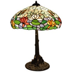 Antique Tree Trunk Base Stained Glass Wilkinson Shade Cattails & Water Lilies