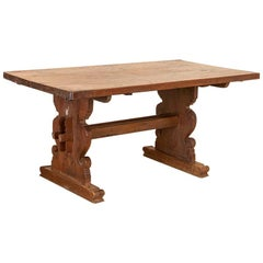 Antique Trestle Farm Kitchen or Dining Table from Denmark
