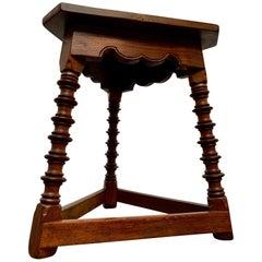 Antique Tri-Pod Walnut Side Table