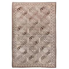 Antique Tribal Afghan Ersari Carpet, All-Over Field, Ivory Light Brown Field