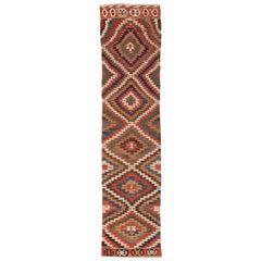 Antique Tribal Caucasian Kilim Runner Rug. Size: 2 ft 7 in x 12 ft