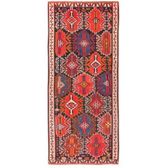 Antique Tribal Caucasian Kuba Kilim Rug. Size: 5 ft 7 in x 12 ft 9 in