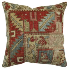 Antique Tribal Caucasian Rug Pillow in Red and Soft Blue