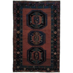 Antique Tribal Caucasian Rug with Medallions