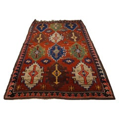Antique Tribal Caucasian Shirvan Wool Hand Knotted Rug Collector
