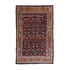 Antique Tribal Colorful Bidjar Carpet, All-Over Navy Pattern, Colorful Border