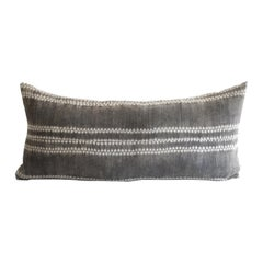 Antique Tribal Fabric in Dark Brown with Natural Linen