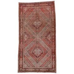Antique Tribal Khotan Rug, Pink Red Orange and Light Blue Palette Unusual Design
