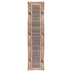 Antique Tribal Kurdish Runner with Geometric Motifs and Modern Border