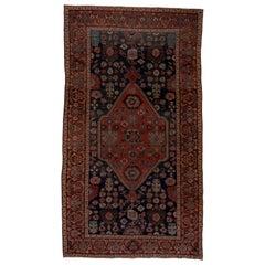 Antique Tribal Persian Bidjar Carpet, Navy Field, 1890s, Stunning Carpet