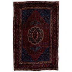 Antique Tribal Persian Bidjar Rug, Dark and Rich Tones, circa 1930s
