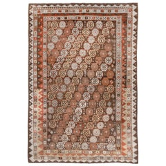 Antique Tribal Persian Gabbeh Rug, Rust Brown and White Tones, Southwest Decor