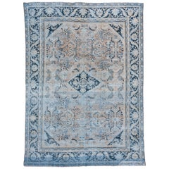 Antique Tribal Persian Mahal Rug, Dark Blue Borders, Peach and Light Brown Field