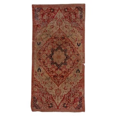 Antique Tribal Persian Tabriz Gallery Carpet, Red and Ivory Field