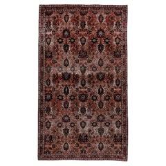 Antique Tribal Persian Varamin Rug, Colorful Palette, Allover Field, Circa 1920s