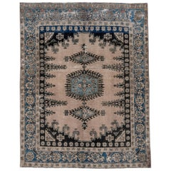 Antique Tribal Persian Veece Rug, Cream Ivory Field, Blue Borders, Black Tones