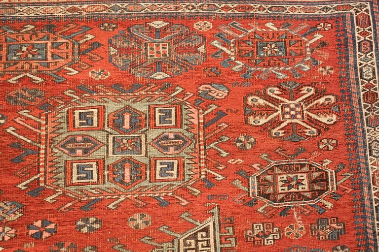 Beautiful Antique Tribal Soumak Caucasian Rug, Country of Origin / Rug Type: Caucasian Rug, Circa Date: 1900 – Size: 8 ft 3 in x 9 ft 7 in (2.51 m x 2.92 m).