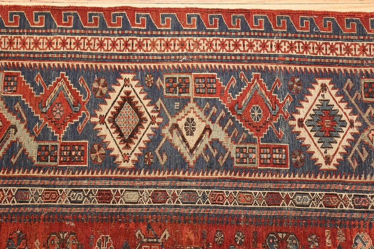 Hand-Woven Antique Tribal Soumak Caucasian Rug. Size: 8 ft 3 in x 9 ft 7 in(2.51 m x 2.92 ) For Sale