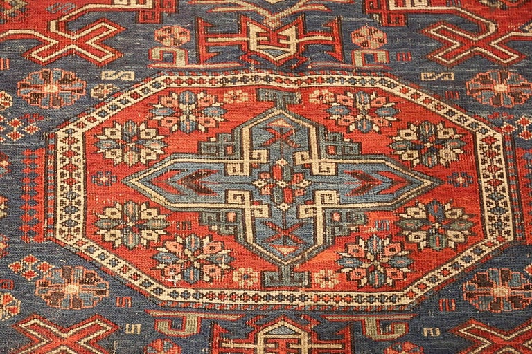 20th Century Antique Tribal Soumak Caucasian Rug. Size: 8 ft 3 in x 9 ft 7 in(2.51 m x 2.92 ) For Sale