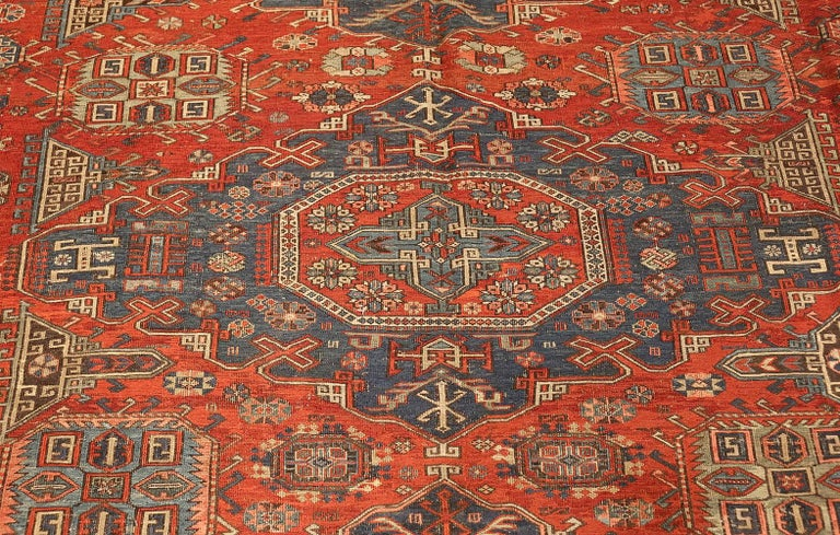 Wool Antique Tribal Soumak Caucasian Rug. Size: 8 ft 3 in x 9 ft 7 in(2.51 m x 2.92 ) For Sale
