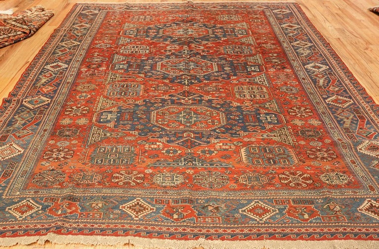 Antique Tribal Soumak Caucasian Rug. Size: 8 ft 3 in x 9 ft 7 in(2.51 m x 2.92 ) For Sale 1