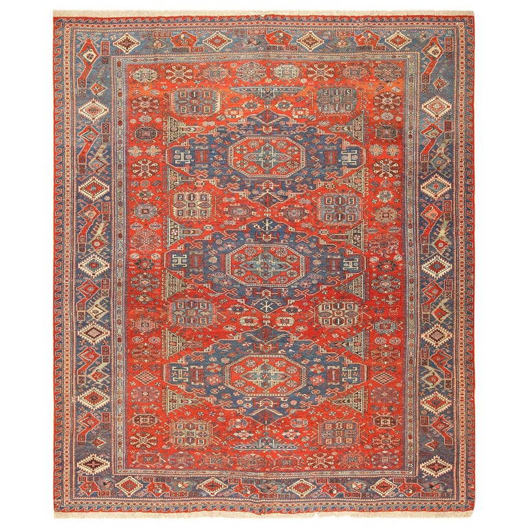 Antique Tribal Soumak Caucasian Rug. Size: 8 ft 3 in x 9 ft 7 in(2.51 m x 2.92 ) For Sale
