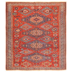 Antique Tribal Soumak Caucasian Rug.Size: 8 ft 5 in x 9 ft 6 in (2.57 m x 2.9 m)