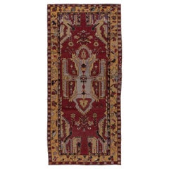 Antique Tribal Turkish Oushak Long Rug, Rich Colors, Red Field, Yellow Borders