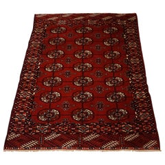Antique Tribal Turkomen Bokhara Hand Knotted Wool Rug