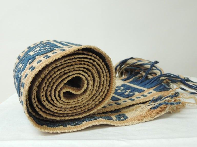 Antique Textile Collection: Antique Tribal Yellow and Blue Woven Turkish Sash with long hand tied fringes. Sold as is. Size: 5H x 89 L including long fringes.