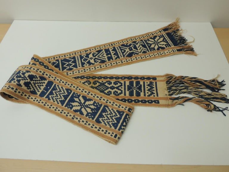 Hand-Crafted Antique Tribal Yellow and Blue Woven Turkish Sash For Sale