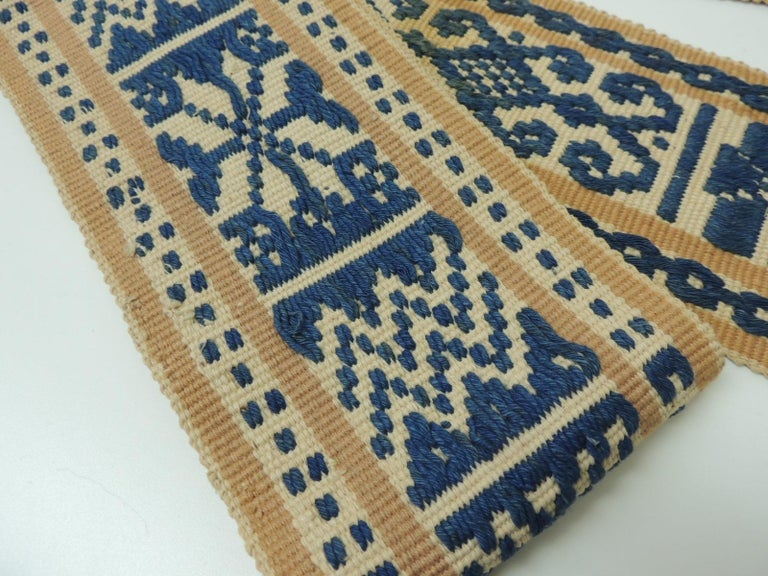 Antique Tribal Yellow and Blue Woven Turkish Sash In Good Condition For Sale In Fort Lauderdale, FL