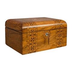 Antique Trinket Box, English, Walnut, Inlay, Jewellery, Keepsake, Victorian