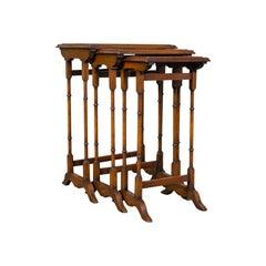 Antique Trio of Nest Tables, English, Walnut, Mahogany, Nesting, Side, Edwardian