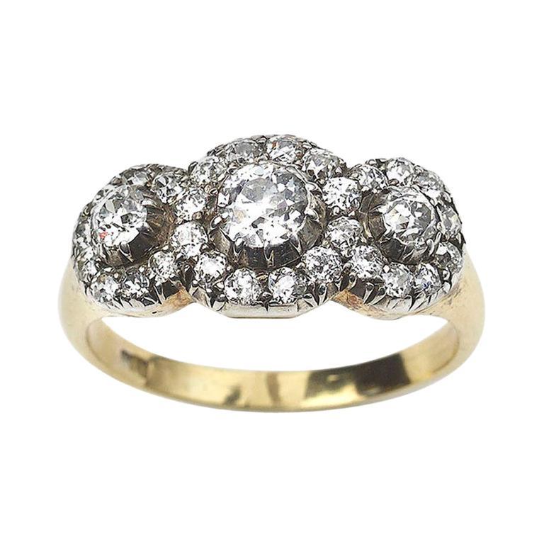 Antique Triple Cluster Diamond 1.60 Carat Ring, Circa 1870