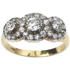 Antique Triple Cluster Diamond 1.60 Carat Silver Upon Gold Ring, circa 1870