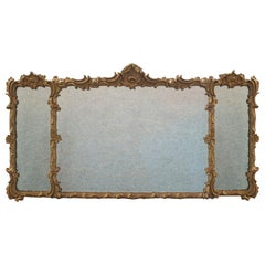 Antique Triptych Mirror, Italian, Gilt Gesso, Overmantle, Hanging, circa 1850