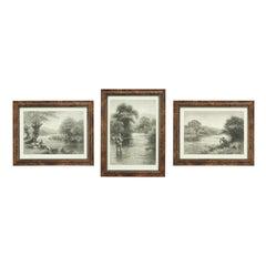 Antique Trout Fishing Prints, Set of Three