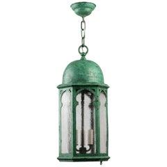 Antique Tudor Verdigris Copper Lantern with Textured Glass, circa 1930