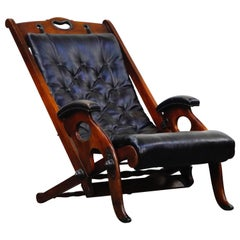 Antique Tufted Leather Folding Campaign Library Recliner Chair, circa 1900