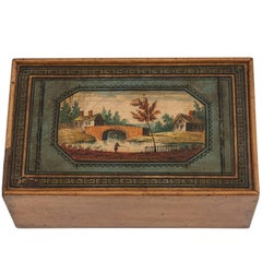 Antique Tunbridge War Painted Top Sewing Box, 19th Century