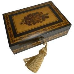 Antique Tunbridge Ware Jewelry Box by T. Barton, Late Nye, circa 1850