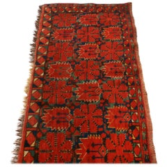 Antique Turkeman Geometric Red and Green Wool Rug