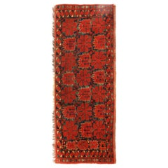 Antique Turkeman Red and Green Wool Rug Geometric Pattern