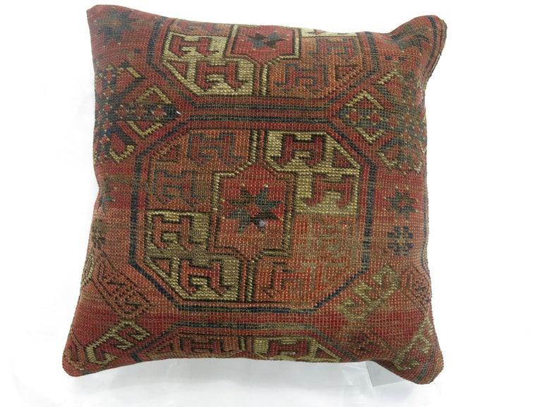 Tribal Antique Turkeman Rug Pillow For Sale