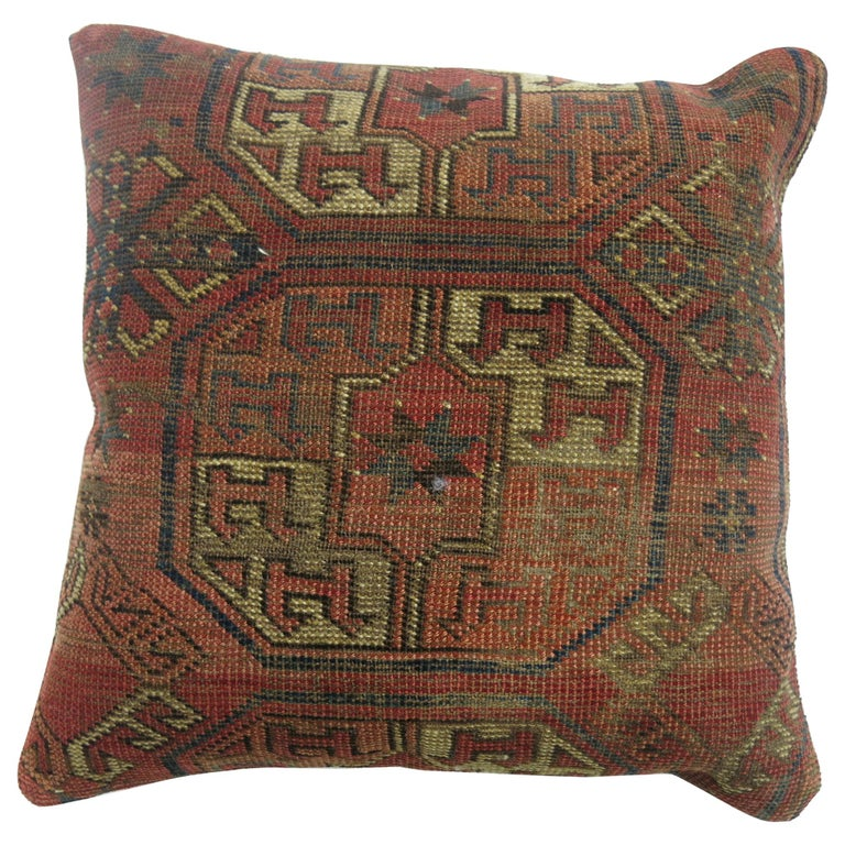 Antique Turkeman Rug Pillow For Sale