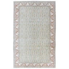 Antique Turkestan Khotan Rug with All-Over Geometric Design in Taupe and Multi