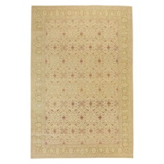 Antique Turkish Agra Rug with Beige and Red Botanical Field