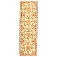Antique Turkish Agra Runner Rug with Beige & Orange Botanical Details