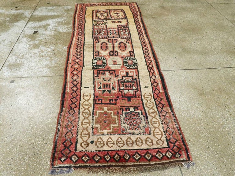 Hand-Knotted Antique Turkish Anatolian Tribal Rug For Sale